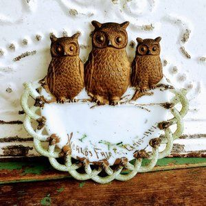 Antique Victorian Milk Glass Plate With Owls